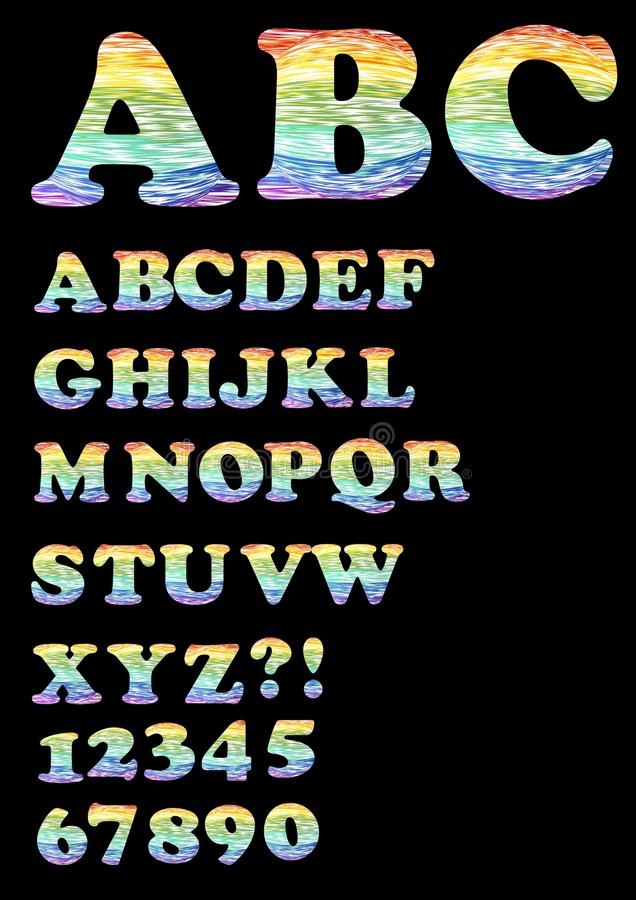 Alphabet - uppercase set in trendy rainbow doodle design, also includes numbers, question mark and exclamation point. Font suitable for decorative inscriptions royalty free illustration