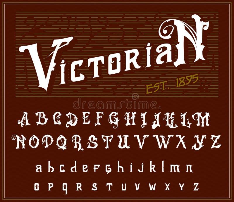 Alphabet victorien dans le style antique Vieille police antique pour le label de whiskey Oeil d'un caractère en cru dans les coul illustration stock