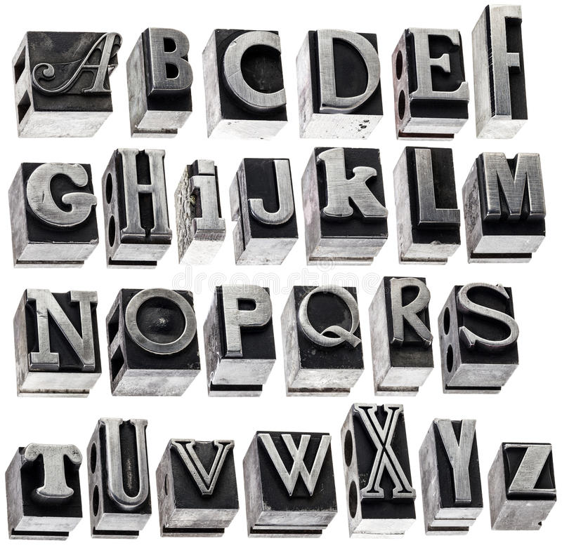 Alphabet in vintage metal type stock photos