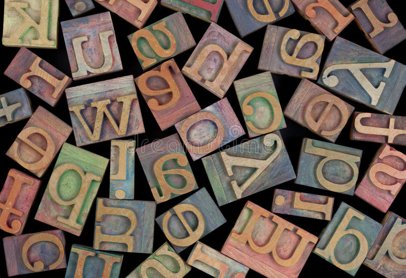 Alphabet in vintage wood type royalty free stock image