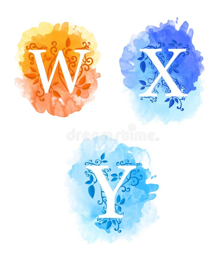 Alphabet with watercolor background white letters w x y and young branches with leaves isolated on white background website page a royalty free stock photo