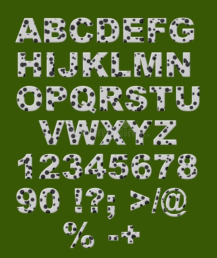 Alphabet - weiße Zeichen mit schwarzen Kreisen lizenzfreie abbildung