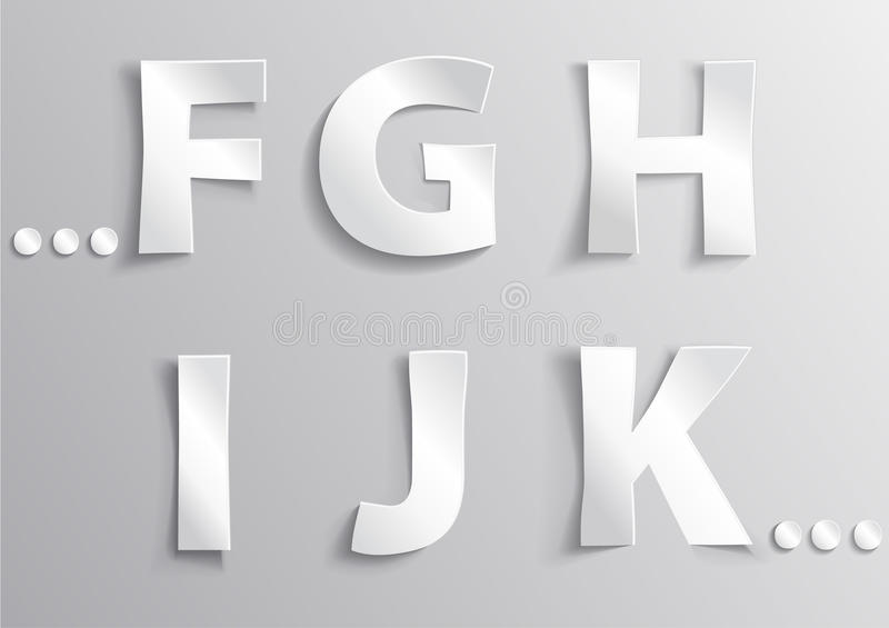 Alphabet white letter with shadow F, G, H, I, J, K royalty free stock images