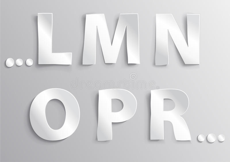 Alphabet white letter with shadow L,M,N,O,P,R royalty free stock image