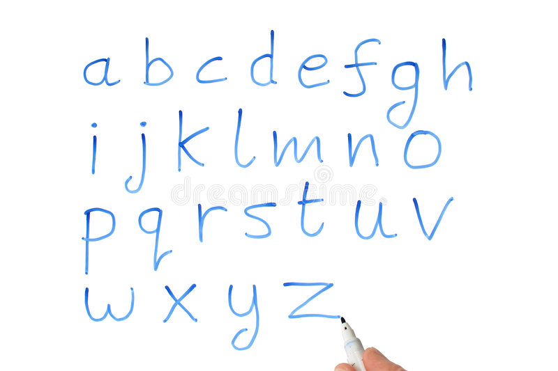 The alphabet on a whiteboard. royalty free illustration