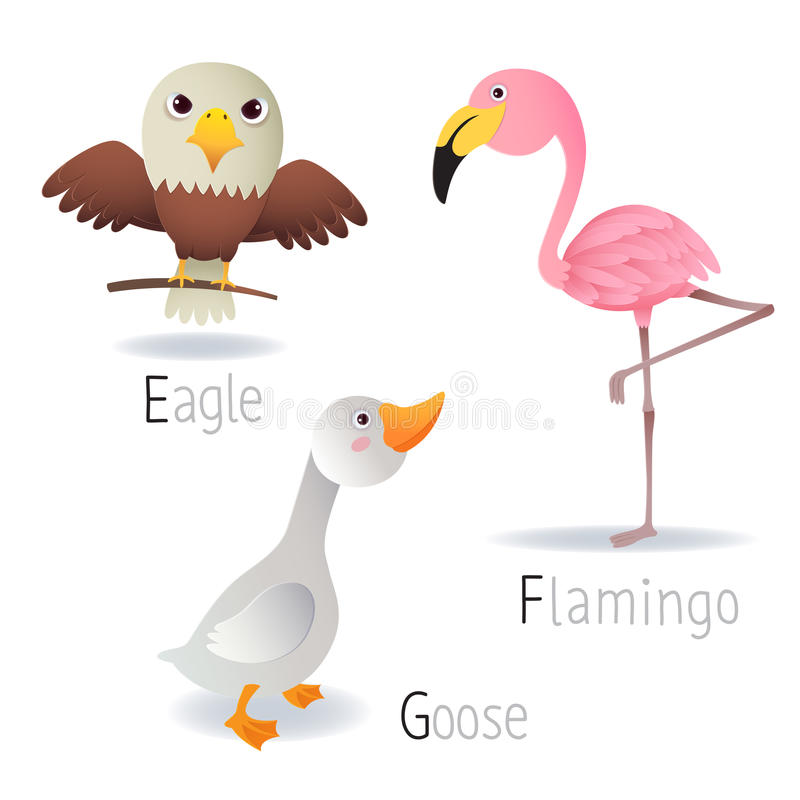 Free Alphabet With Animals From E To G Set 2 Royalty Free Stock Image - 57234446