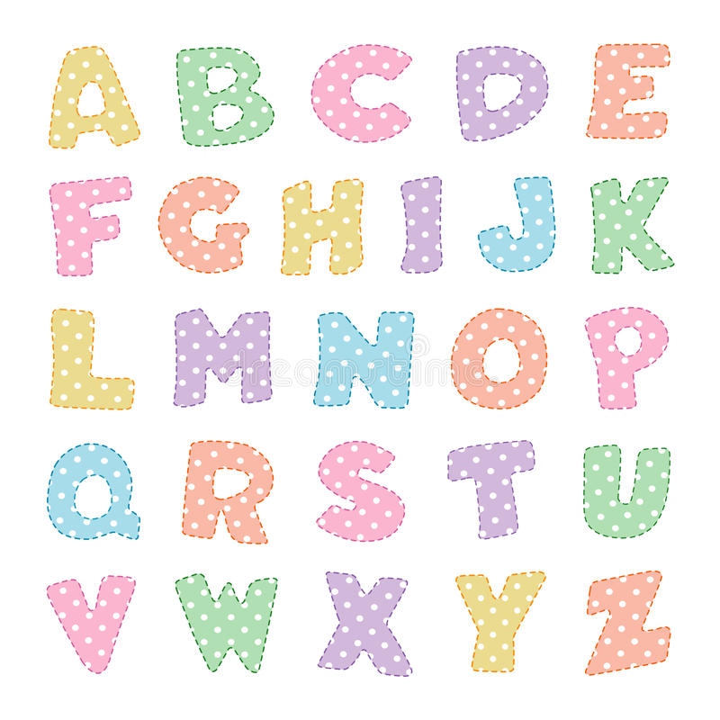 Free Alphabet With Pastel Polka Dots Stock Photography - 12754212