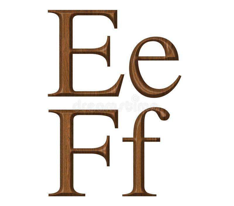 Alphabet. Wooden alphabet, letter E,F stock image