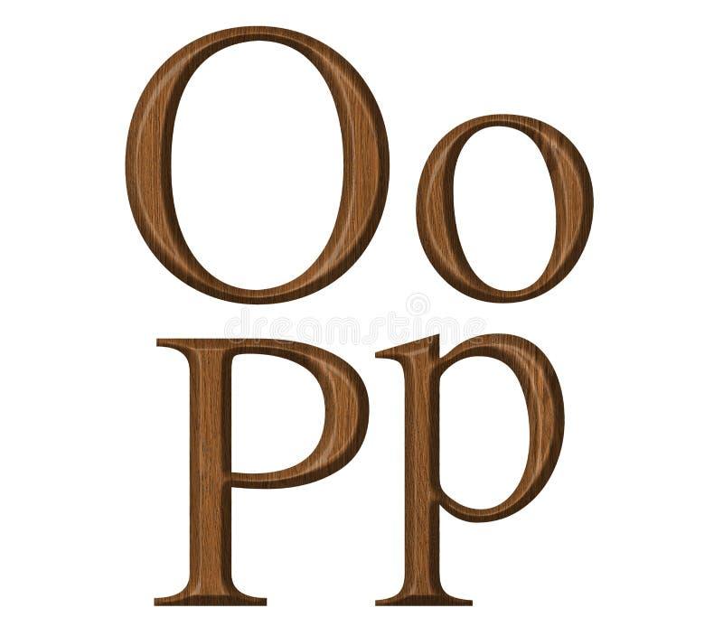 Alphabet. Wooden alphabet, letter O,P royalty free stock image