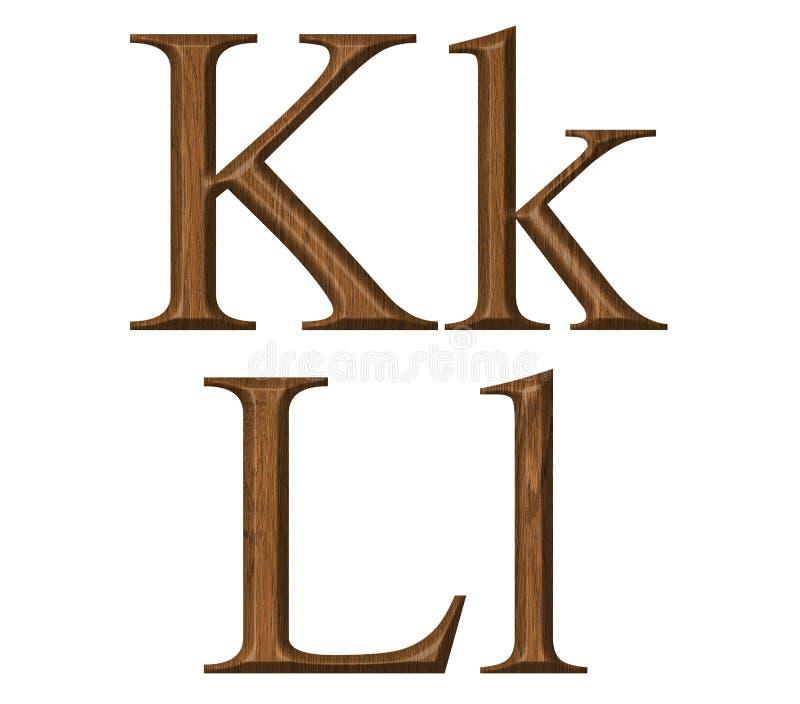 Alphabet. Wooden alphabet set letter K,L royalty free stock photos