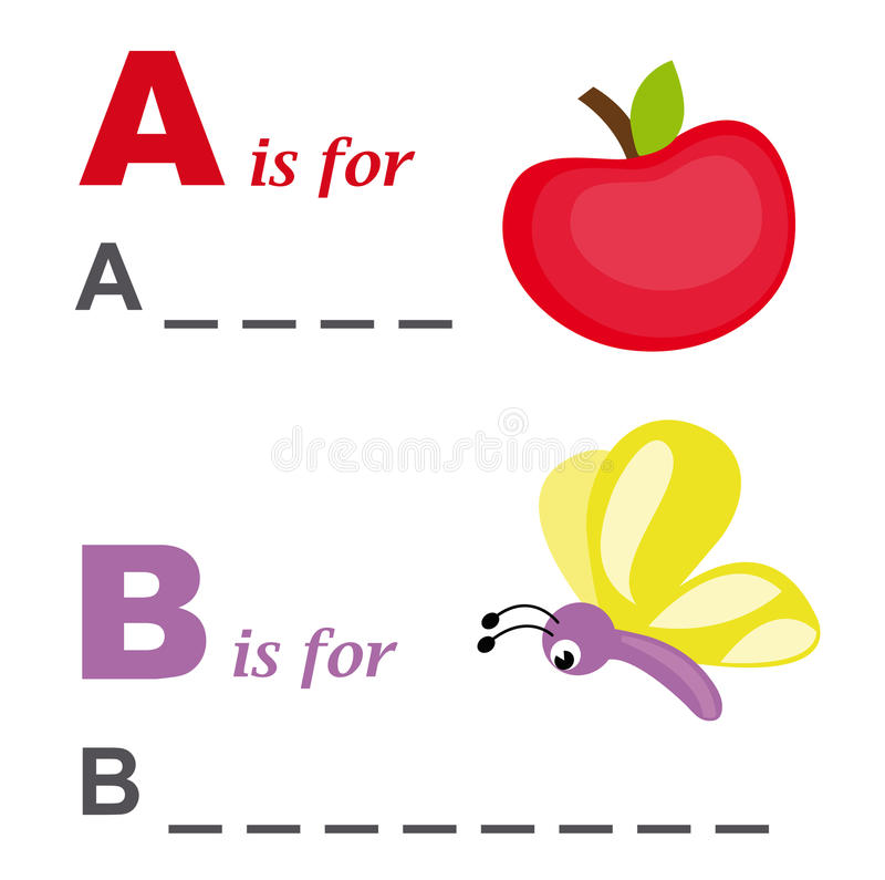 Free Alphabet Word Game: Apple And Butterfly Stock Photo - 18220290