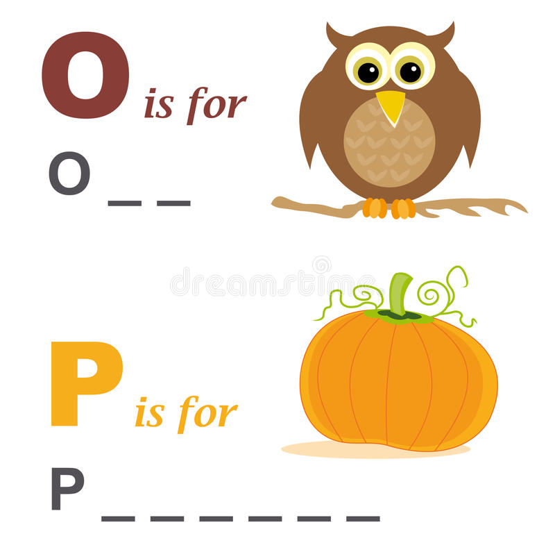 Alphabet word game: owl and pumpkin stock image