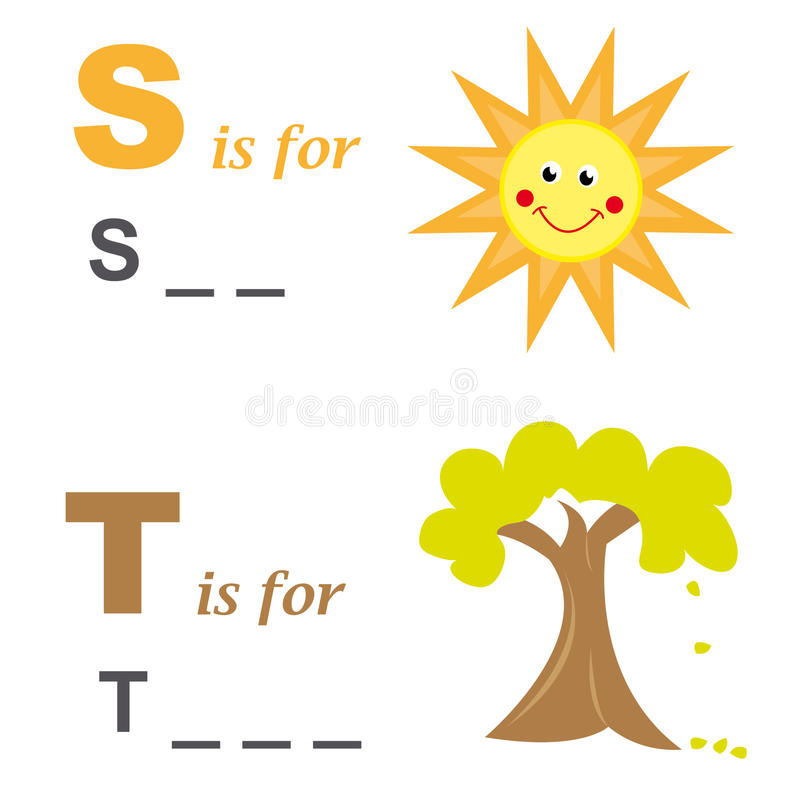 Alphabet word game: sun and tree royalty free stock photo