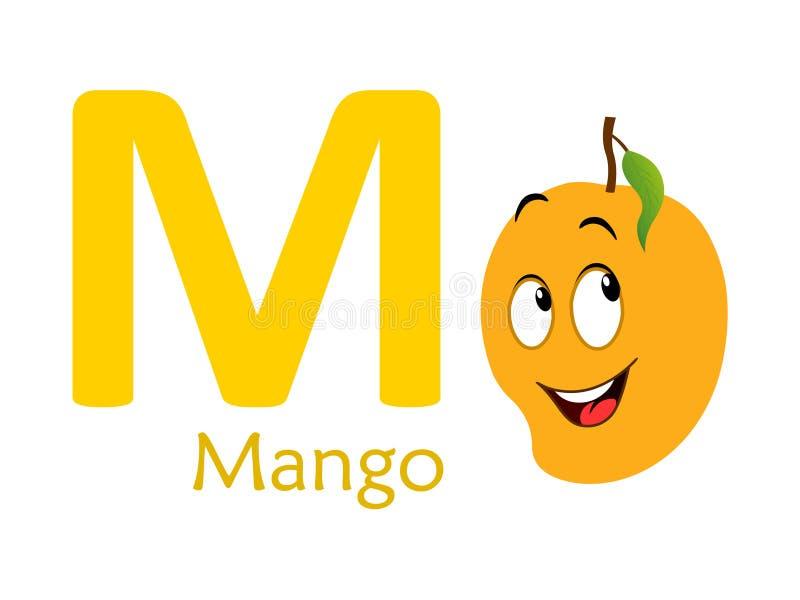 Alphabet word M.M for mango vector illustration