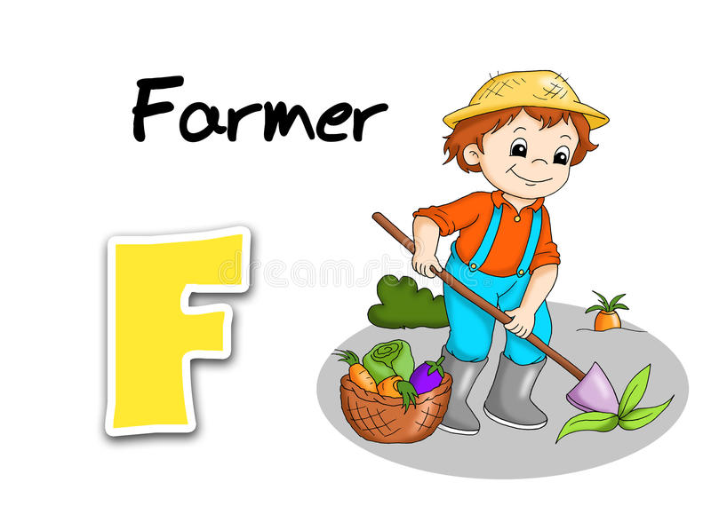 Download Alphabet workers - farmer stock vector. Image of production - 15689883