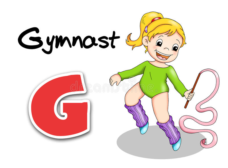 Alphabet workers - gymnast royalty free stock images