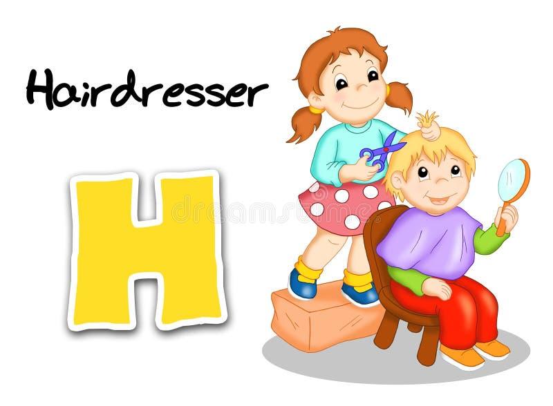 Alphabet workers - hairdresser stock photos