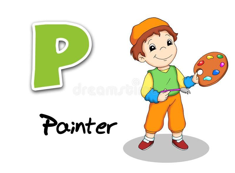 Alphabet workers - painter. Digital illustration of the alphabet of the works. Painter royalty free illustration