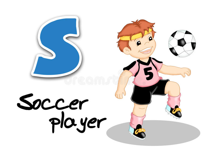 Alphabet workers - soccer player stock images