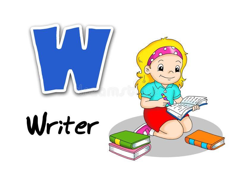 Alphabet workers - writer. Digital illustration of the alphabet of the works. Writer royalty free illustration
