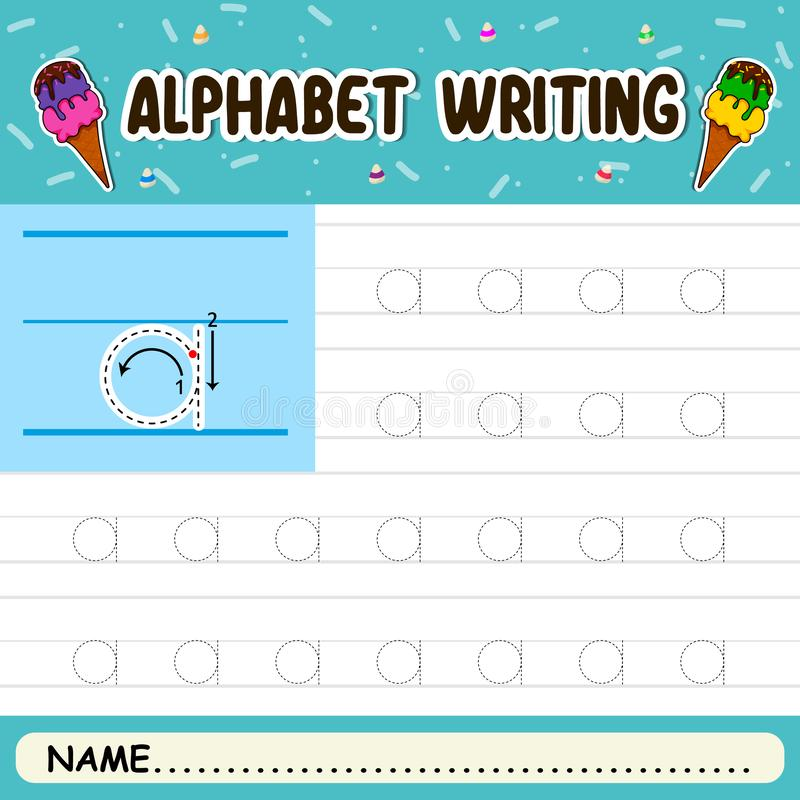 Alphabet writing. Alphabet letters tracing worksheet with all alphabet letters stock illustration