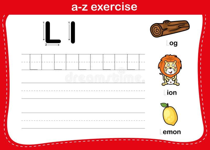 Alphabet-a-z-Übung mit Cartoon-Vokabular stock abbildung