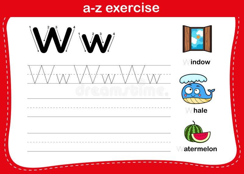 Alphabet-a-z-Übung mit Cartoon-Vokabular lizenzfreie abbildung