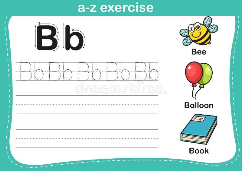 Alphabet a-z exercise with cartoon vocabulary illustration stock illustration