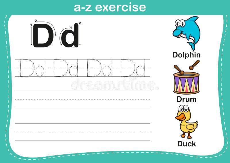 Alphabet a-z exercise with cartoon vocabulary illustration vector illustration