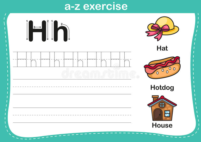Alphabet a-z exercise with cartoon vocabulary illustration stock illustration