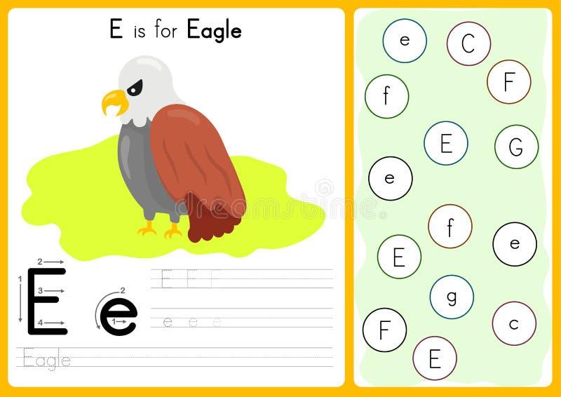 Alphabet A-Z Tracing und Puzzlespiel Arbeitsblatt, Übungen für Kinder - Illustration und Vektor lizenzfreie abbildung