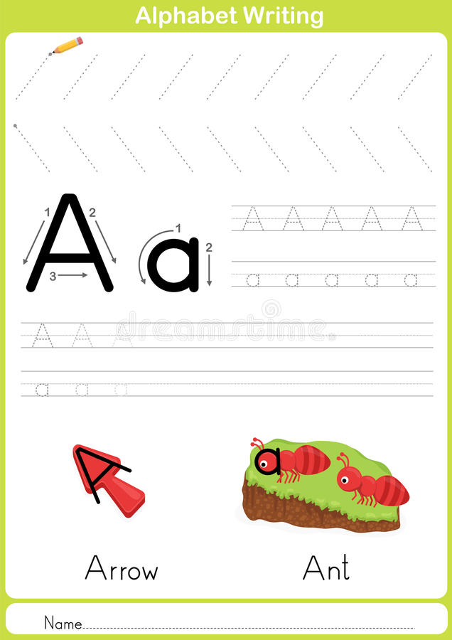 Alphabet A-Z Tracing Worksheet, Exercises for kids - A4 paper ready to print stock illustration