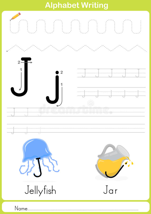 Alphabet A-Z Tracing Worksheet, Exercises for kids - A4 paper ready to print royalty free illustration