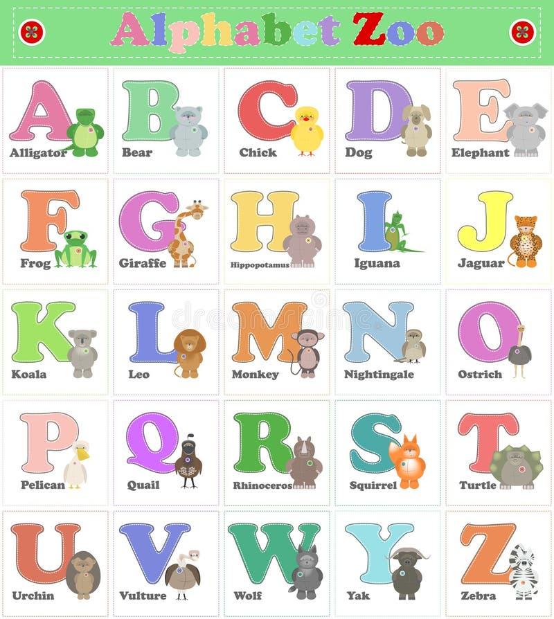 Alphabet-Zoo, lustige Plüschtiere Englisches Alphabet Vektorwarenkorb lizenzfreie abbildung