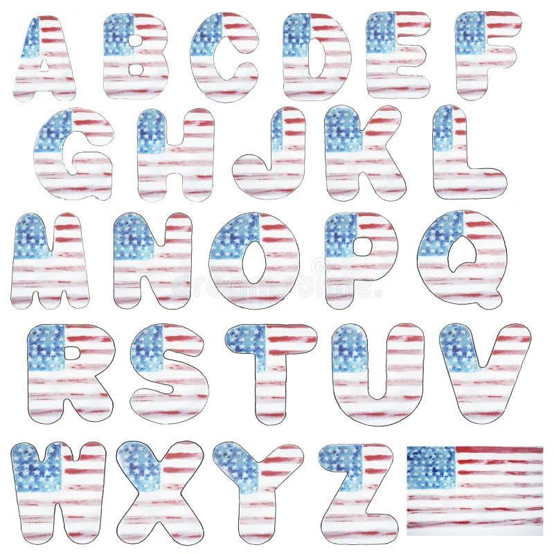 Alphabetbuchstabe und -zahlen das Aquarell der amerikanischen Flagge, Typografie am Unabhängigkeitstag, USA, Aquarellskizze vektor abbildung