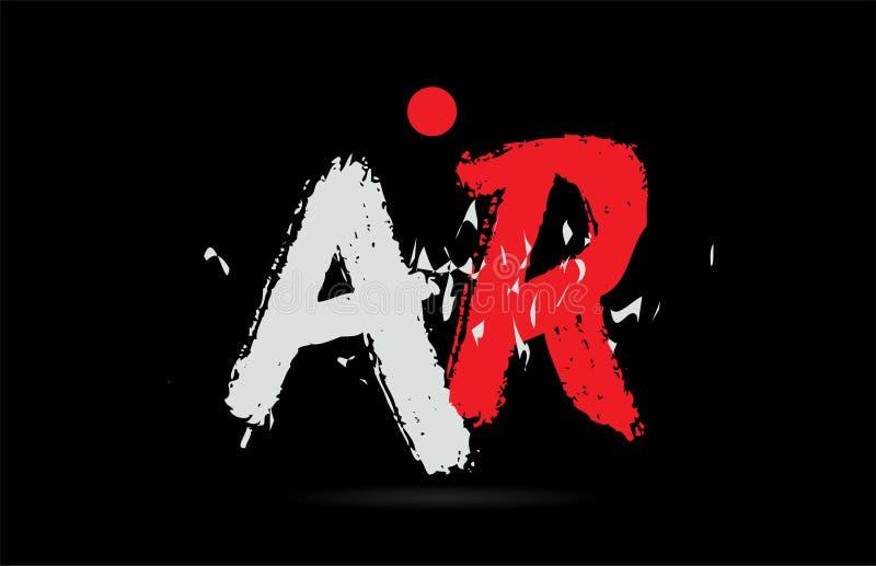 AlphabetBuchstabenkombination AR ein R mit Schmutzbeschaffenheit auf schwarzem Hintergrundlogo lizenzfreie abbildung