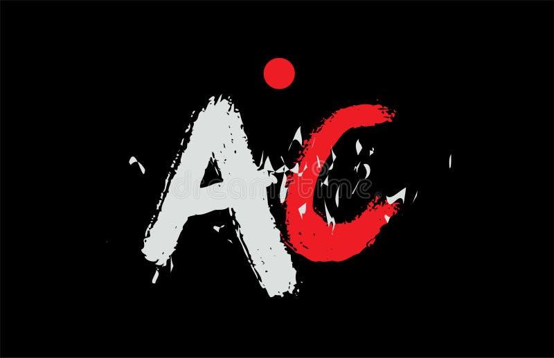 AlphabetBuchstabenkombination Wechselstrom-Wechselstrom mit Schmutzbeschaffenheit auf schwarzem Hintergrundlogo vektor abbildung