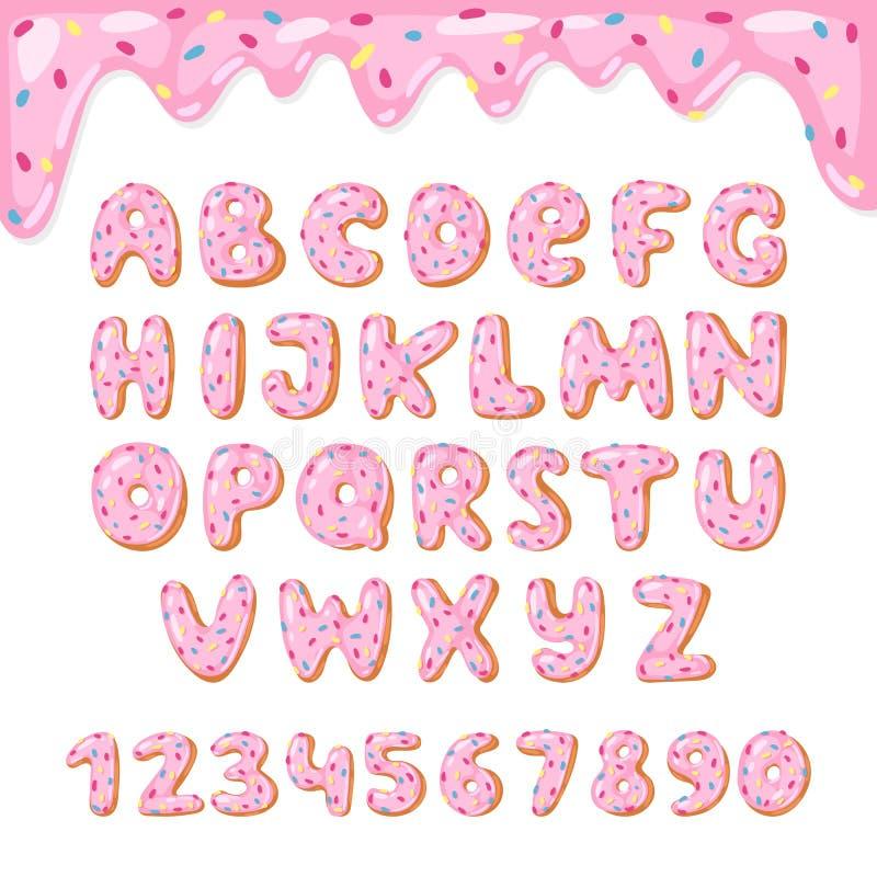 Alphabetdonutvektor scherzt alphabetischen Donutguß ABC mit rosa Buchstaben und glasig-glänzenden Zahlen mit Zuckerglasur oder Bo stock abbildung