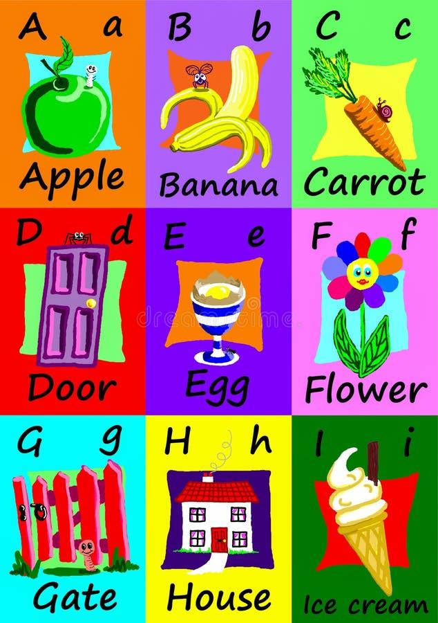 Alphabetflash-karten A-I Naive Illustrationen vektor abbildung