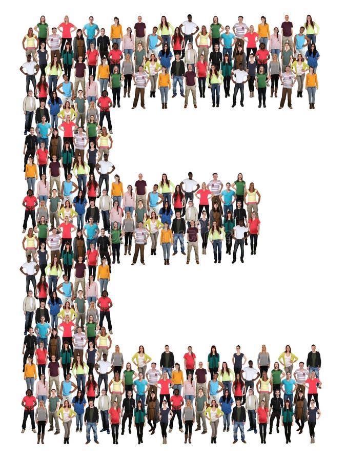 Alphabetgruppe von personen des Buchstaben E lizenzfreies stockfoto