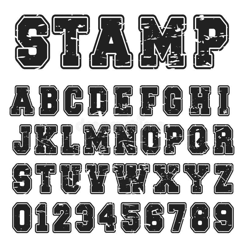 Alphabetgussschwarz-Stempeldesign lizenzfreie abbildung