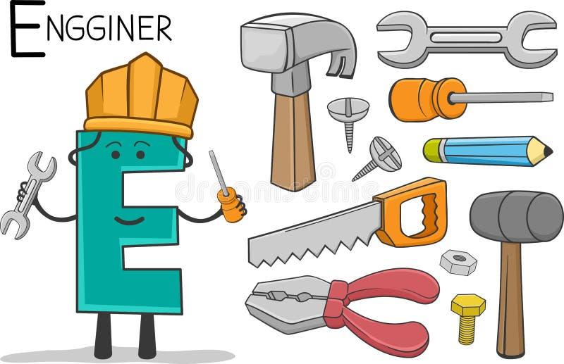 Alphabeth ockupation - bokstav E - Engginer vektor illustrationer