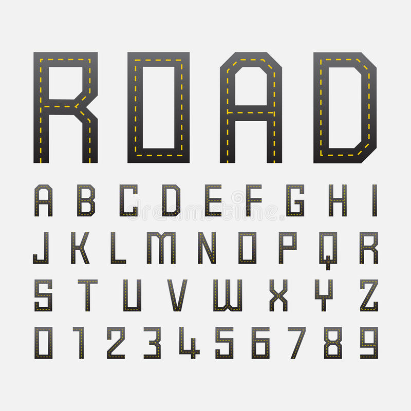 Alphabetic fonts and numbers with road style. Alphabetic fonts and numbers, vector eps10 royalty free illustration