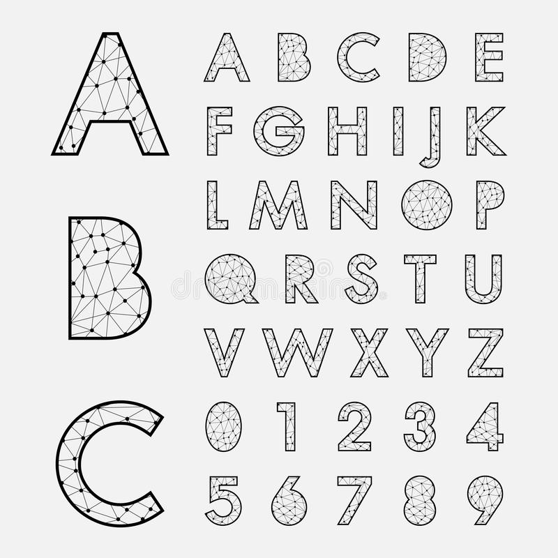 Alphabetic fonts and numbers. Vector eps10 stock illustration