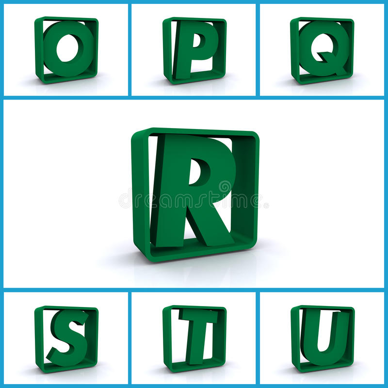 Download Alphabetic Letters In Boxes Stock Illustration - Illustration of blue, learning: 28535123