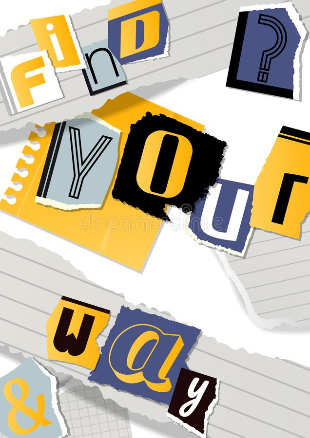 Alphabetical collage banner, poster vector illustration. Words cut out by scissors from colorful paper. Pieces of royalty free illustration