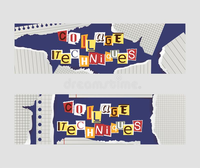 Alphabetical collage set of banners vector illustration. Words cut out by scissors from colorful paper. Pieces of royalty free illustration