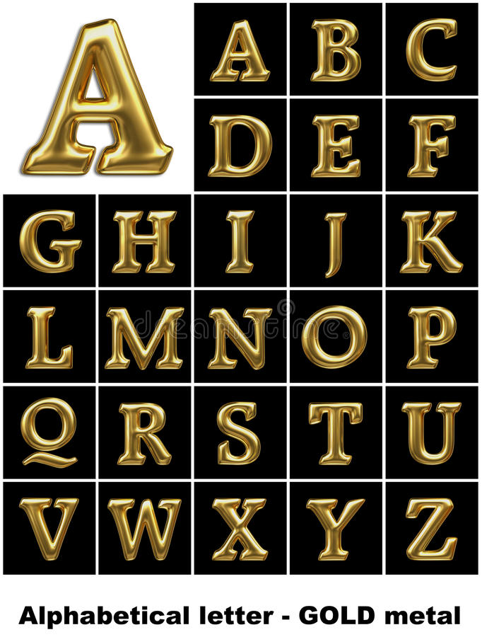Free Alphabetical Letters In Gold Metal Stock Photo - 11011100
