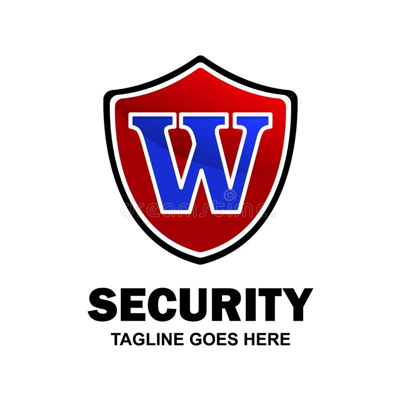 Alphabetical logo of security compnay and typography vector royalty free illustration