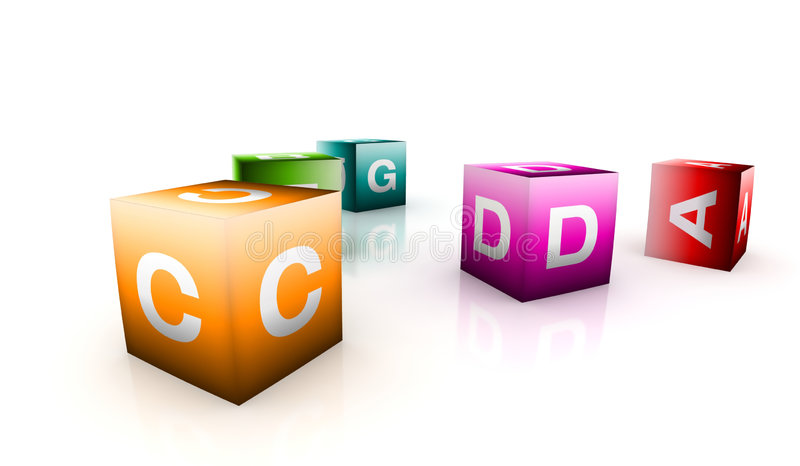 Alphabetical toys in cube shape royalty free illustration